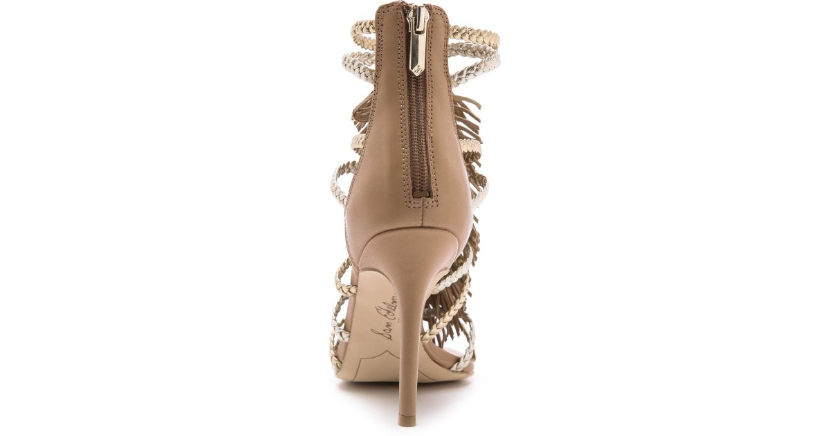 1fed5069c0f0 Lyst - Sam Edelman Savannah Fringe Gladiator Heels - Nude Gold in Natural
