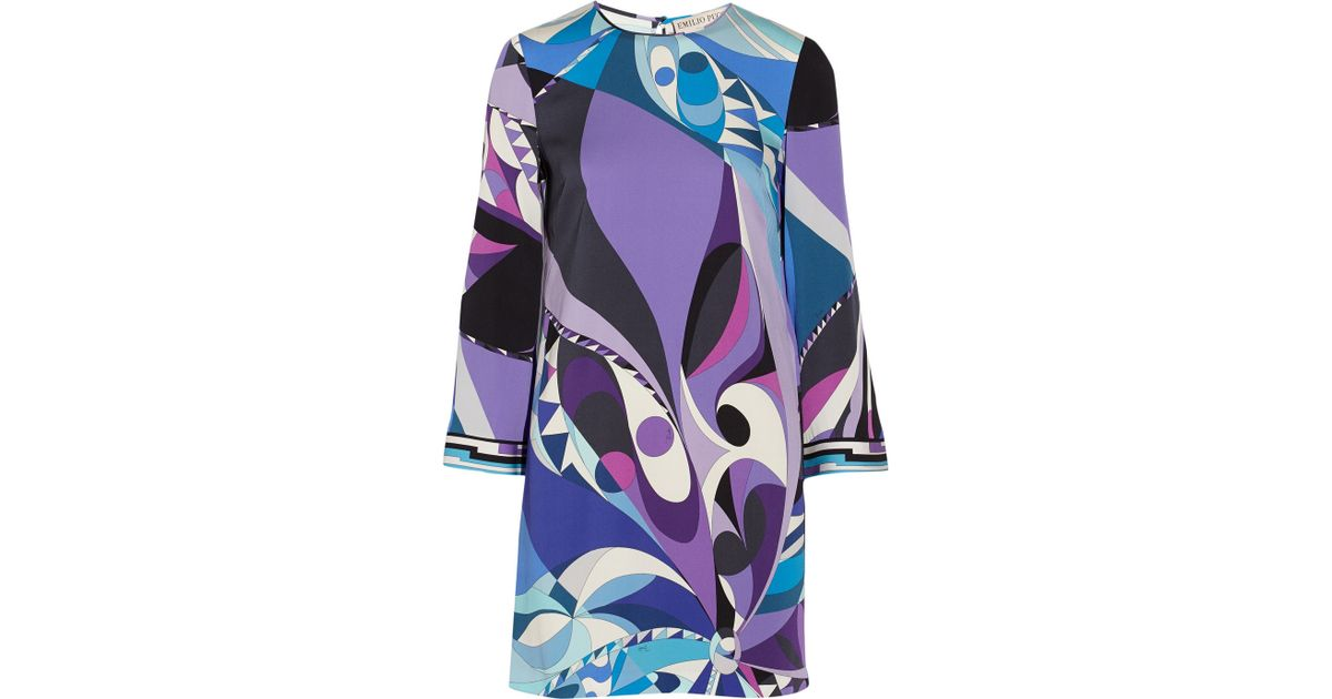 075acbdd6614 Lyst - Emilio Pucci Printed Stretch-Silk Mini Dress in Purple