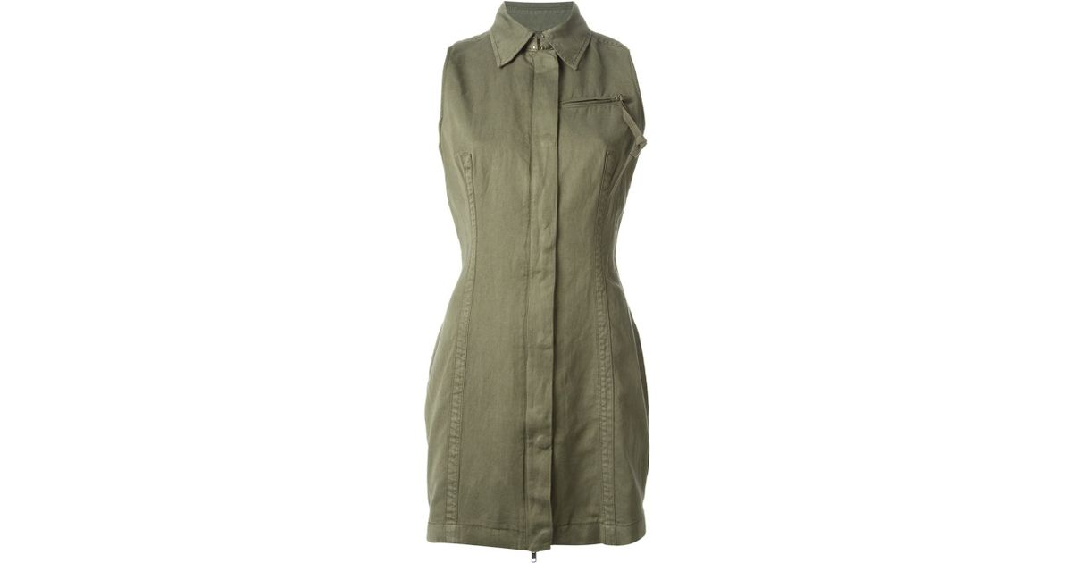 9f3566eb4a Lyst - DIESEL Military Style Shirt Dress in Green