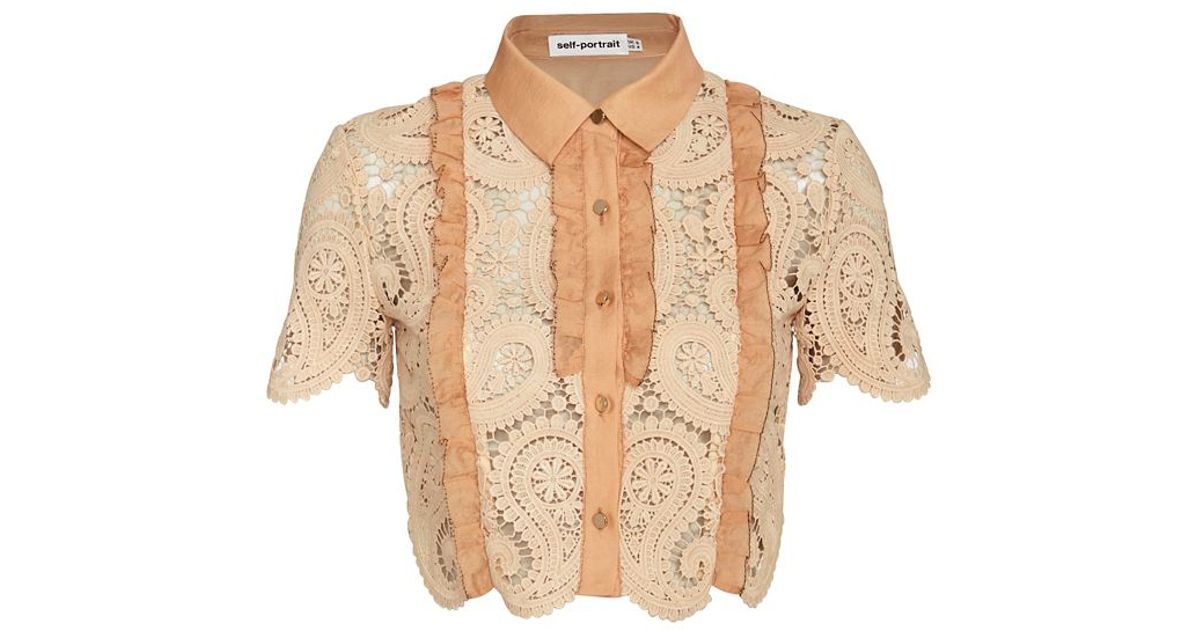 82bb04ded9a0 Self-Portrait Paisley Lace Crop Blouse in Natural - Lyst