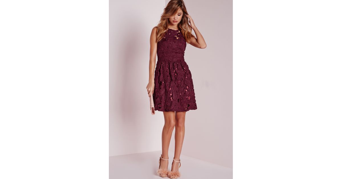 98bedc7b13fb Lyst - Missguided Sleeveless Lace Skater Dress Plum in Red