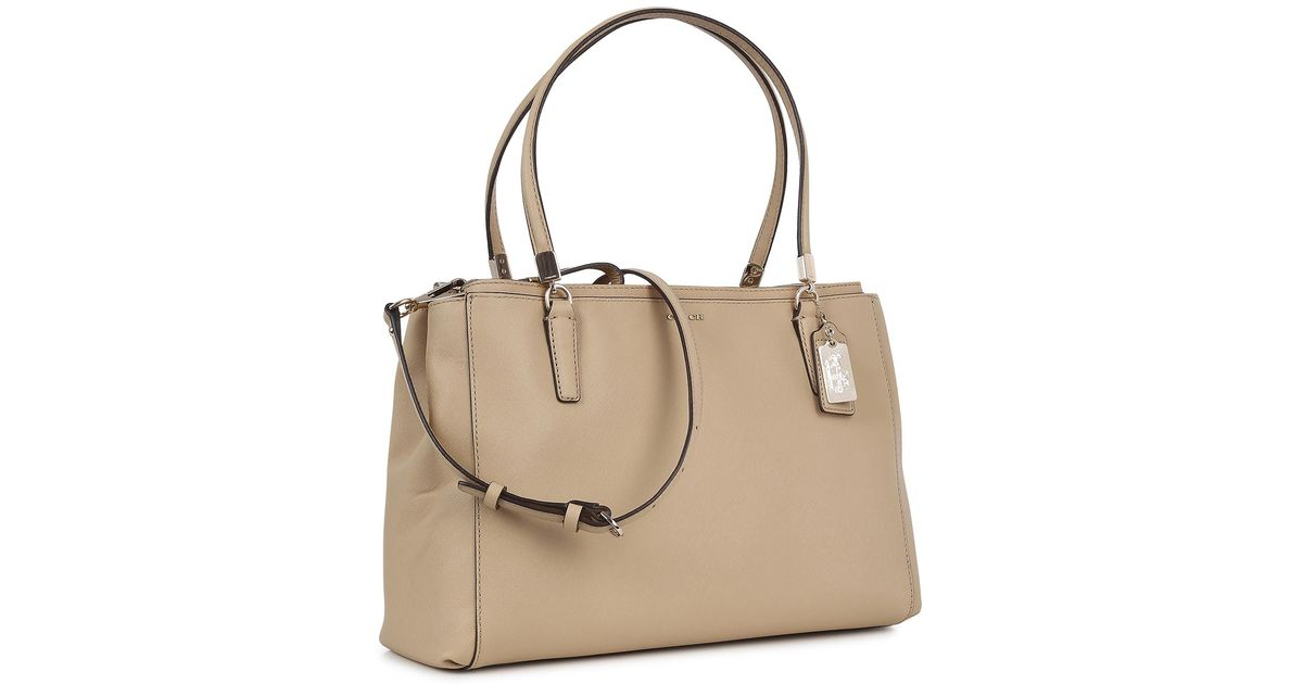 coach madison christie saffiano shoulder bag in natural lyst rh lyst co uk