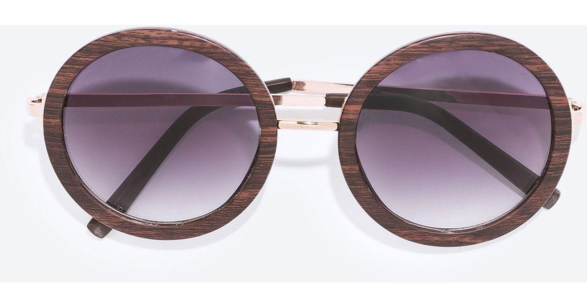 zara wood framed sunglasses in metallic lyst