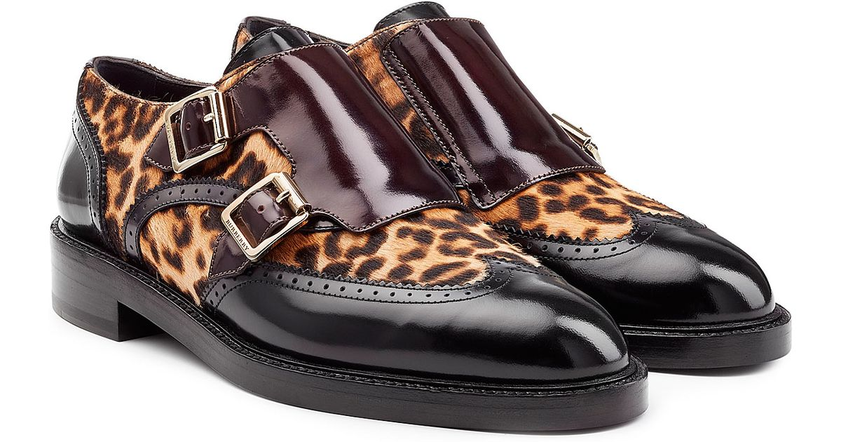 e1accf2d3d9 Lyst - Burberry Leather Loafers With Leopard Printed Calf Hair - Animal  Prints