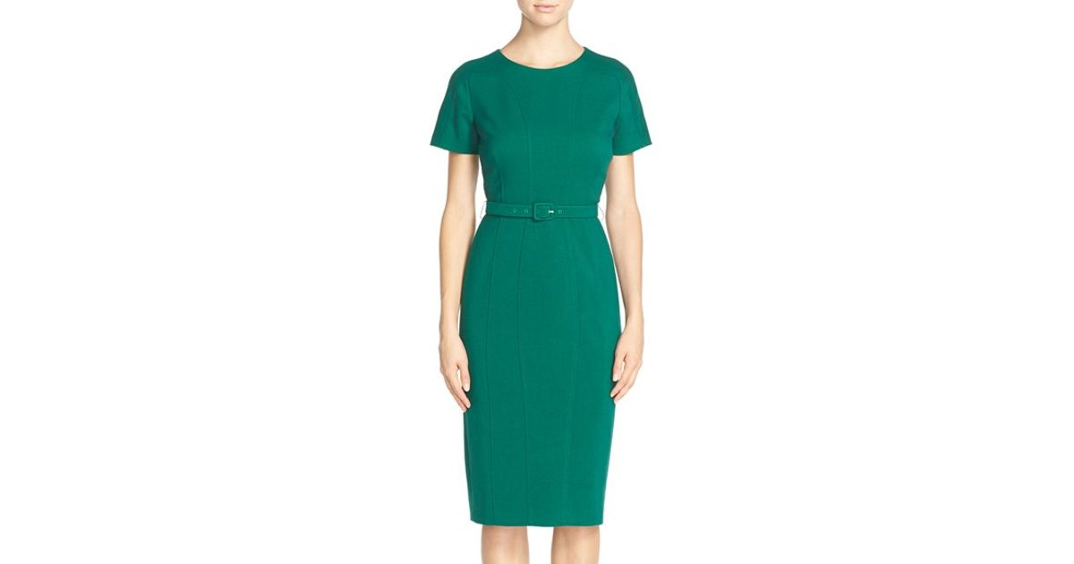 bae24e42 Lyst - Vince Camuto Belted Crepe Sheath Dress in Green