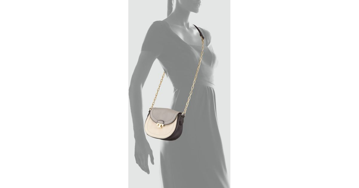 ee7a4a38ec43 Lyst - Tory Burch Sammy Colorblock Crossbody Bag in Natural