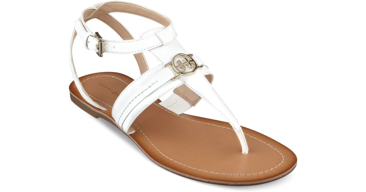d51cb25e0 Lyst - Tommy Hilfiger Womens Lorine Flat Thong Sandals in White