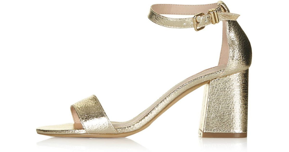 ca6e9e3b5fdcc2 Lyst - TOPSHOP Noodle Mid Heel Two-part Sandals in Metallic
