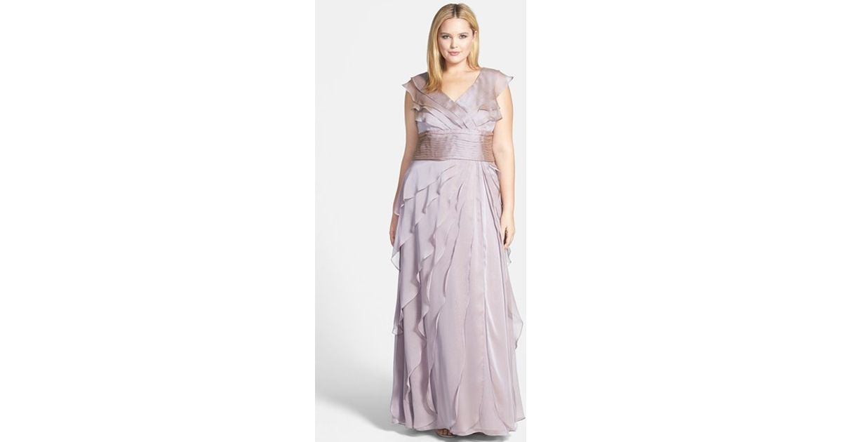 Lyst - Adrianna Papell Iridescent Chiffon Petal Gown in Purple