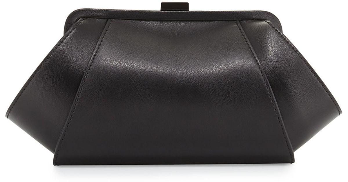 e51cf5c8c07 Lyst - Zac Zac Posen Angled Leather Evening Clutch Bag in Black