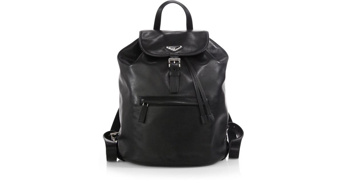 prada soft calf one pocket backpack in black lyst. Black Bedroom Furniture Sets. Home Design Ideas