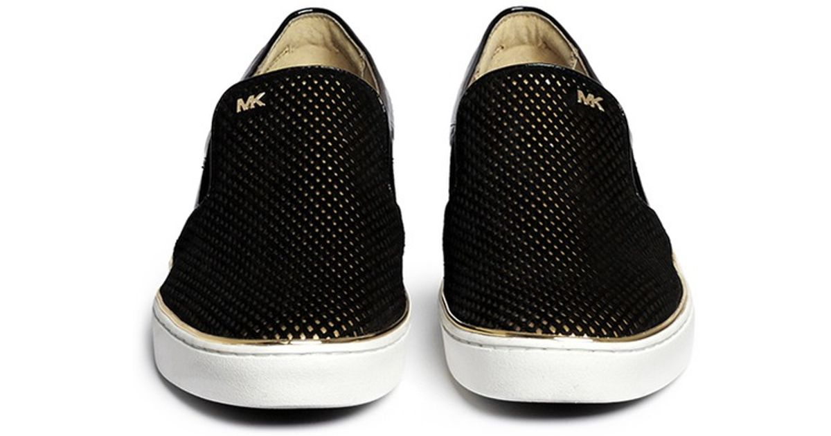 16269cd3e5e44 Lyst - Michael Kors  phoebe  Perforated Suede Vamp Patent Leather Slip-ons  in Black