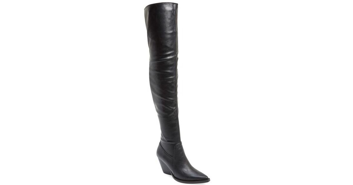 jeffrey cbell the knee leather boots in black lyst