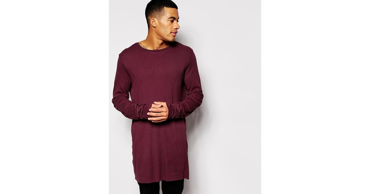 61396258bdf7 ASOS Super Longline Long Sleeve T-shirt In Lightweight Rib Fabric With Raw  Edges in Purple for Men - Lyst