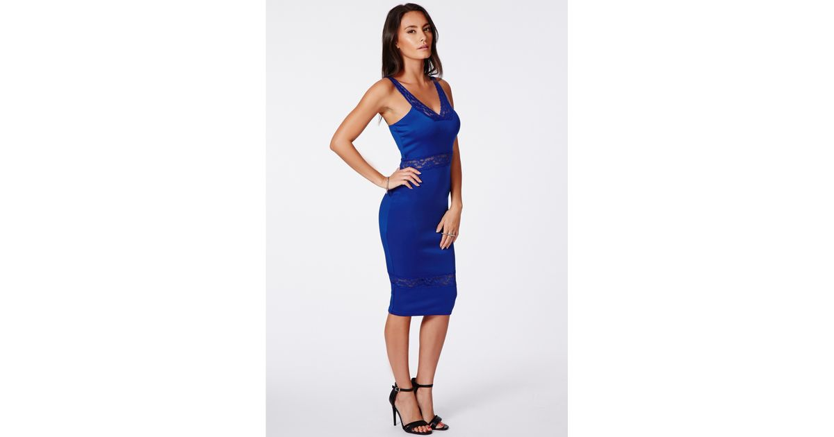 276ce6d3d26b Lyst - Missguided Elektra Blue Lace Panel Midi Dress in Blue