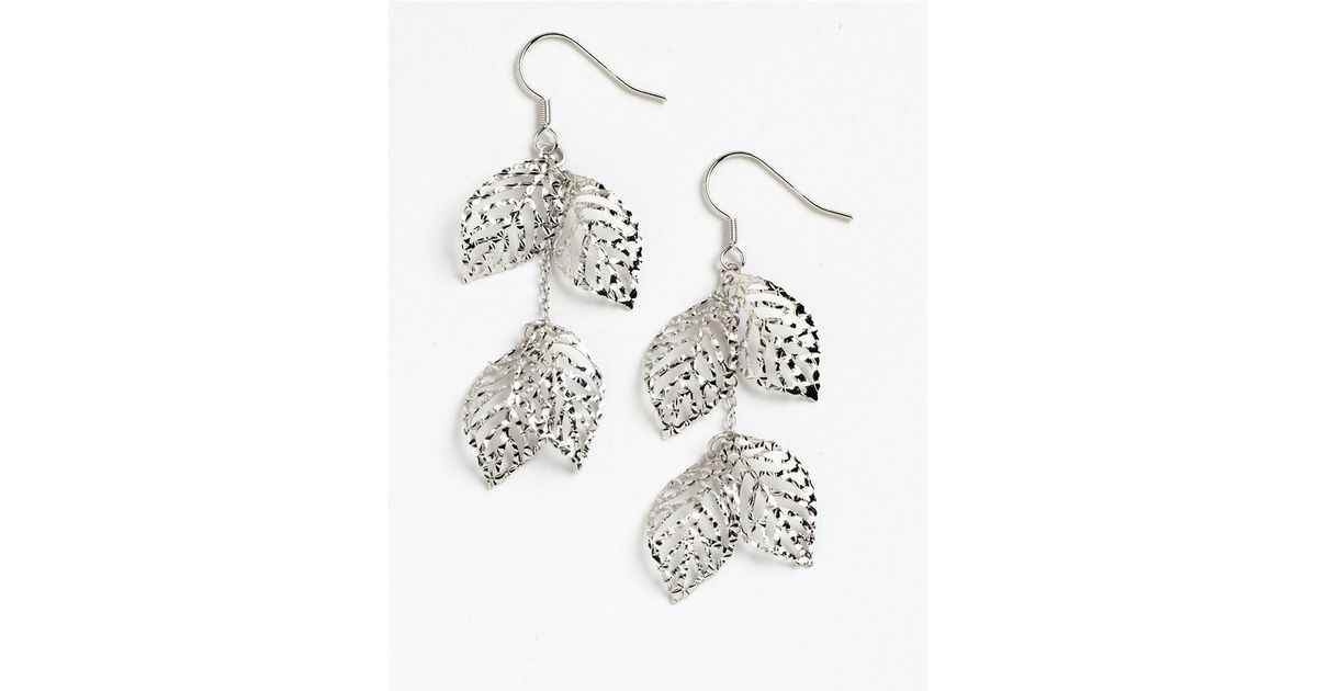 Lyst Lord Taylor Sterling Silver Handmade Diamond Cut Leaves Earrings In Metallic