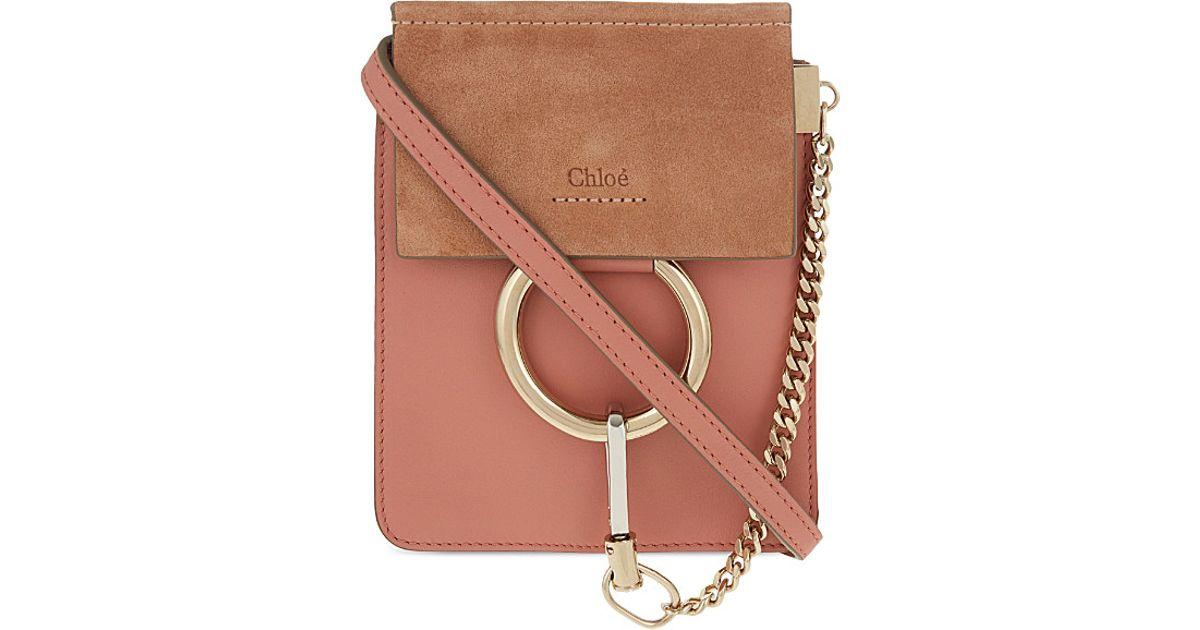 chlo faye mini bracelet leather shoulder bag in pink misty rose lyst. Black Bedroom Furniture Sets. Home Design Ideas