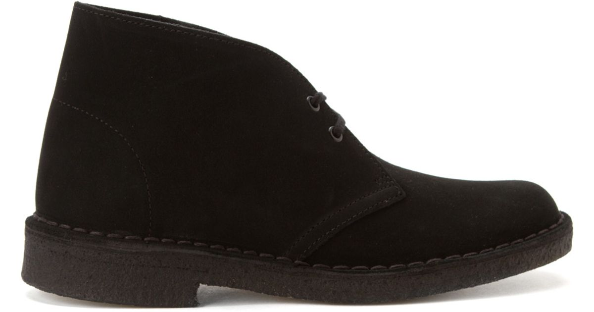 clarks desert boot in black for black suede lyst