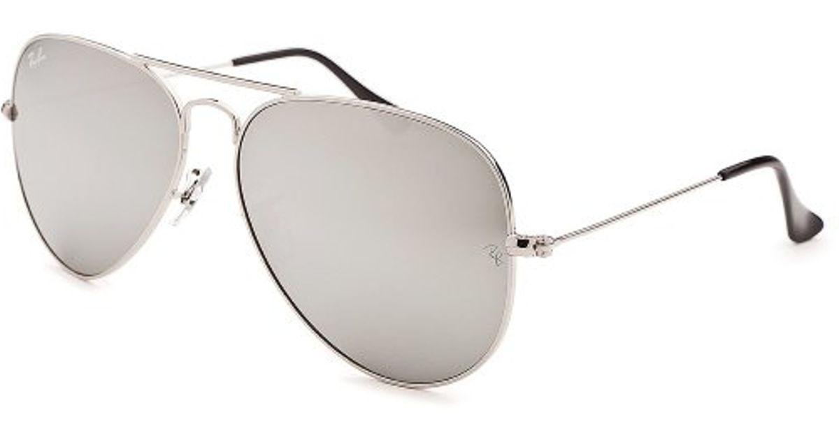 7b5020d18f Ray-Ban Women s Aviator Classic Silver-tone Mirrored Sunglasses in Metallic  for Men - Lyst