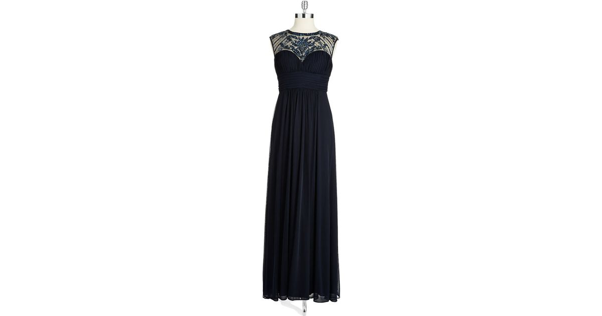 Lyst - Xscape Beaded Illusion Gown in Blue