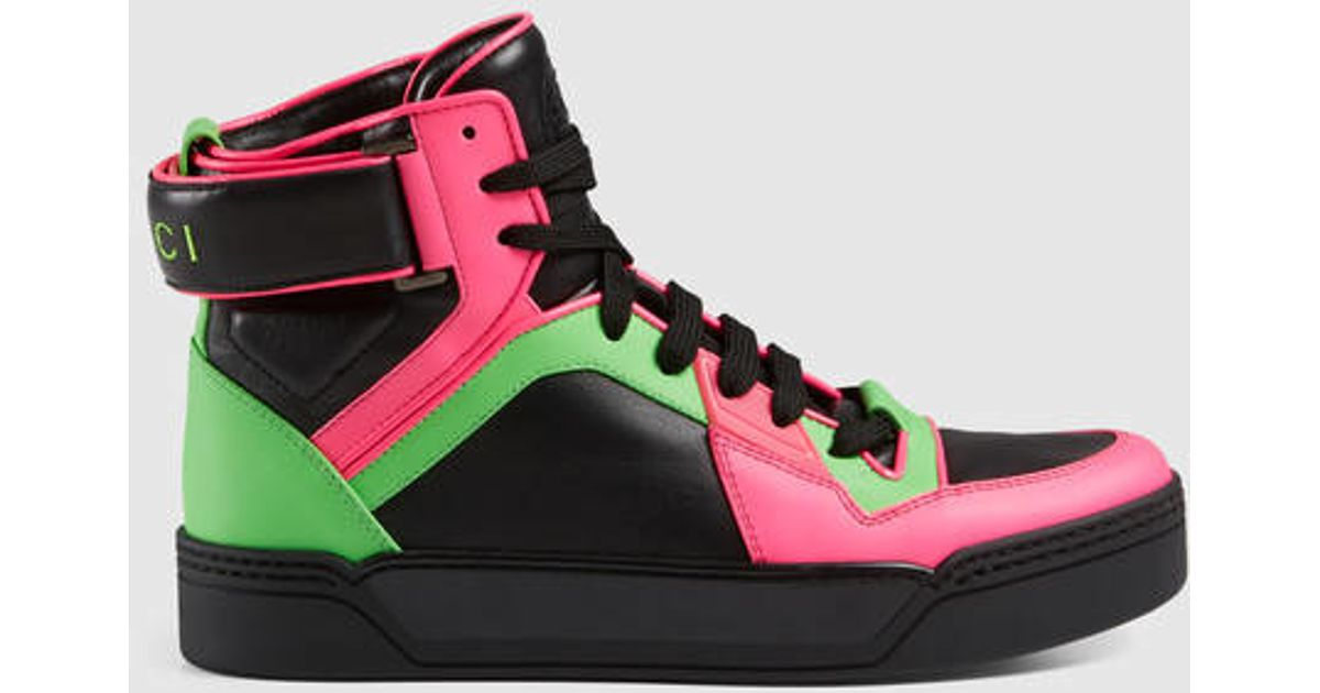 gucci new basketball neon high top sneaker in green lyst. Black Bedroom Furniture Sets. Home Design Ideas