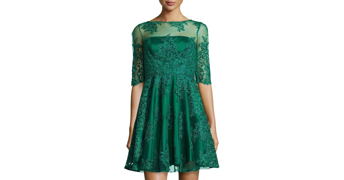 a88c6a8b377 Lyst - ML Monique Lhuillier Lace Half-Sleeve Cocktail Dress in Green