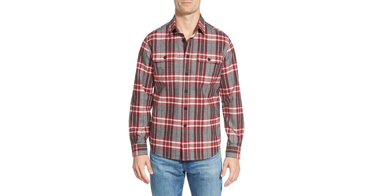 Grayers 39 heritage 39 trim fit flannel sport shirt in red for for Trim fit flannel shirts