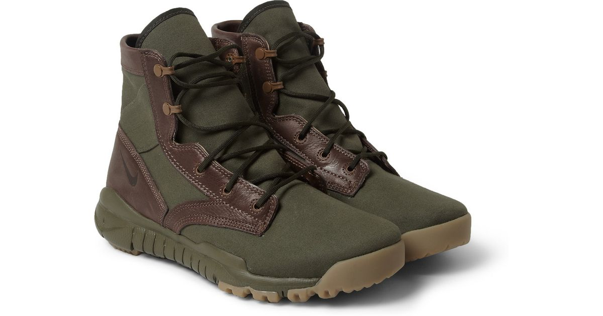 Lyst - Nike Tz Special Field Leather And Canvas High Top Sneakers in Green  for Men 4dbfd5c5d