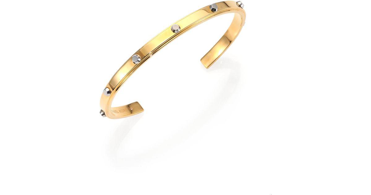 Lyst Michael Kors Astor Two Tone Studded Cuff Bracelet Goldtone In Metallic