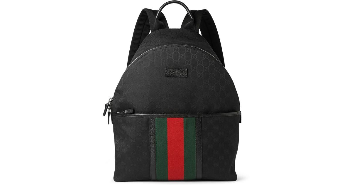 e43d74c51602 Lyst - Gucci Leather-Trimmed Canvas Backpack in Black for Men