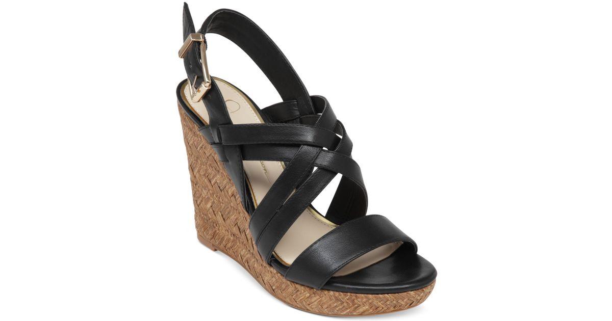 6d8e1427803 Lyst - Jessica Simpson Julita Platform Wedge Sandals in Black