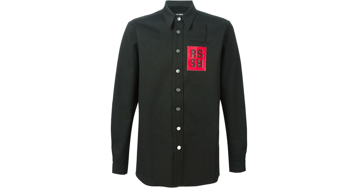 d2d6c0a7df4 Lyst - Raf Simons Logo Patch Shirt in Black for Men