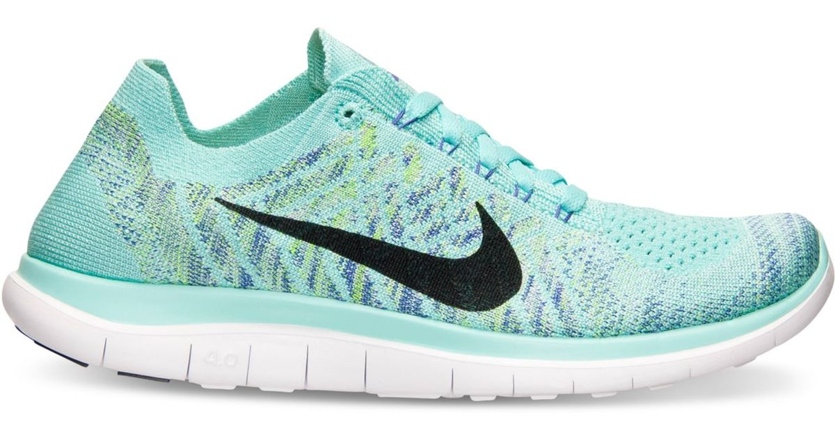 cheap for discount ee99b 05ce9 Lyst - Nike Women s Free Flyknit 4.0 Running Sneakers From Finish Line in  Blue