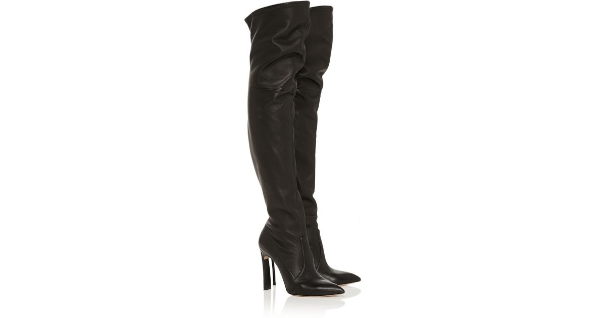 839fcc289d1 Lyst - Casadei Leather Thigh Boots in Black
