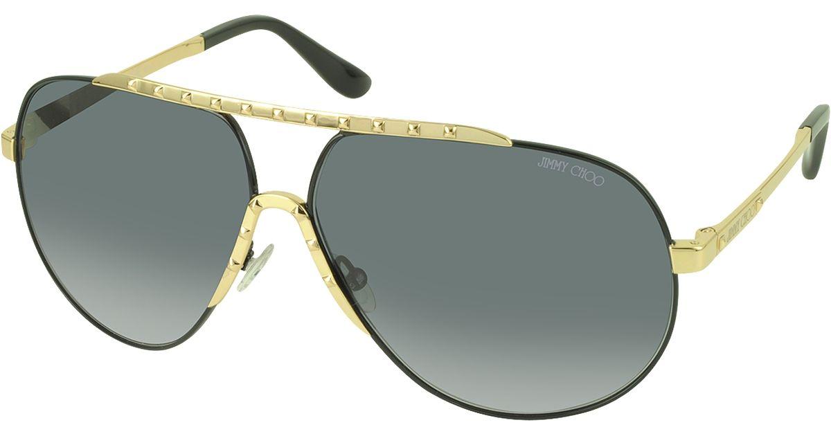 447315db1eb Lyst - Jimmy Choo Benny s Fhghd Black Metal Aviator Women s Sunglasses in  Metallic