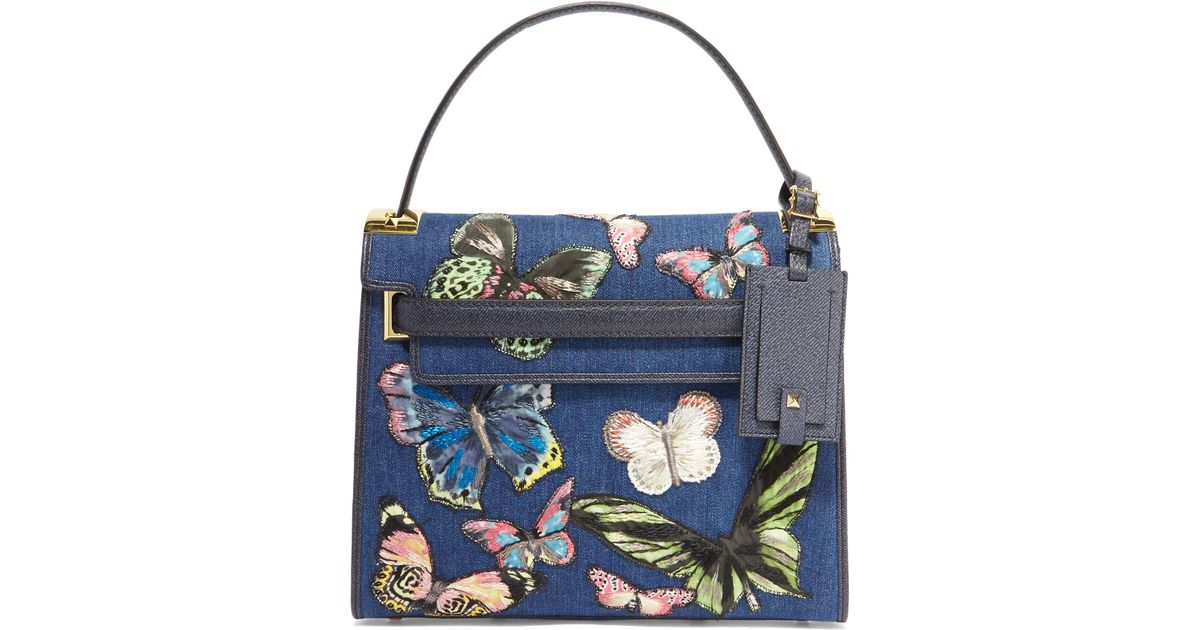 069f32c60d9c Lyst - Valentino My Rockstud Embroidered Denim And Textured-leather Tote