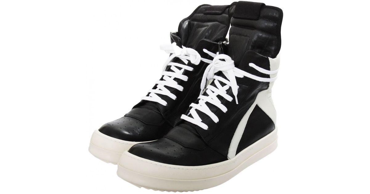 rick owens geo basket leather boot black milk in black for
