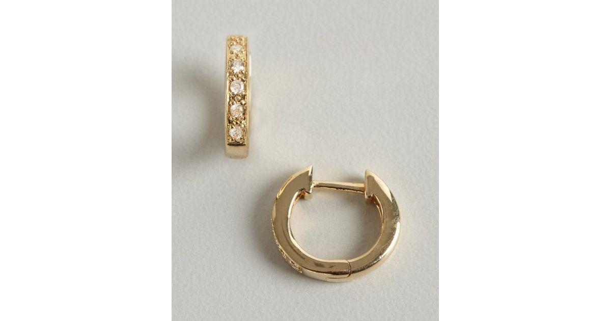 Lyst Sydney Evan Gold And Diamond Huggy Small Hoop Earrings In Metallic