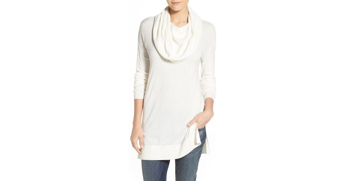 ef711e5a27623 Lyst - Caslon Side Slit Cowl Neck Tunic in White