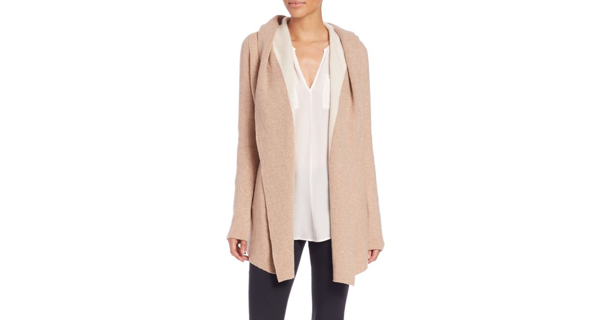 Joie Gredan Hooded Wool & Cashmere Cardigan in Natural | Lyst
