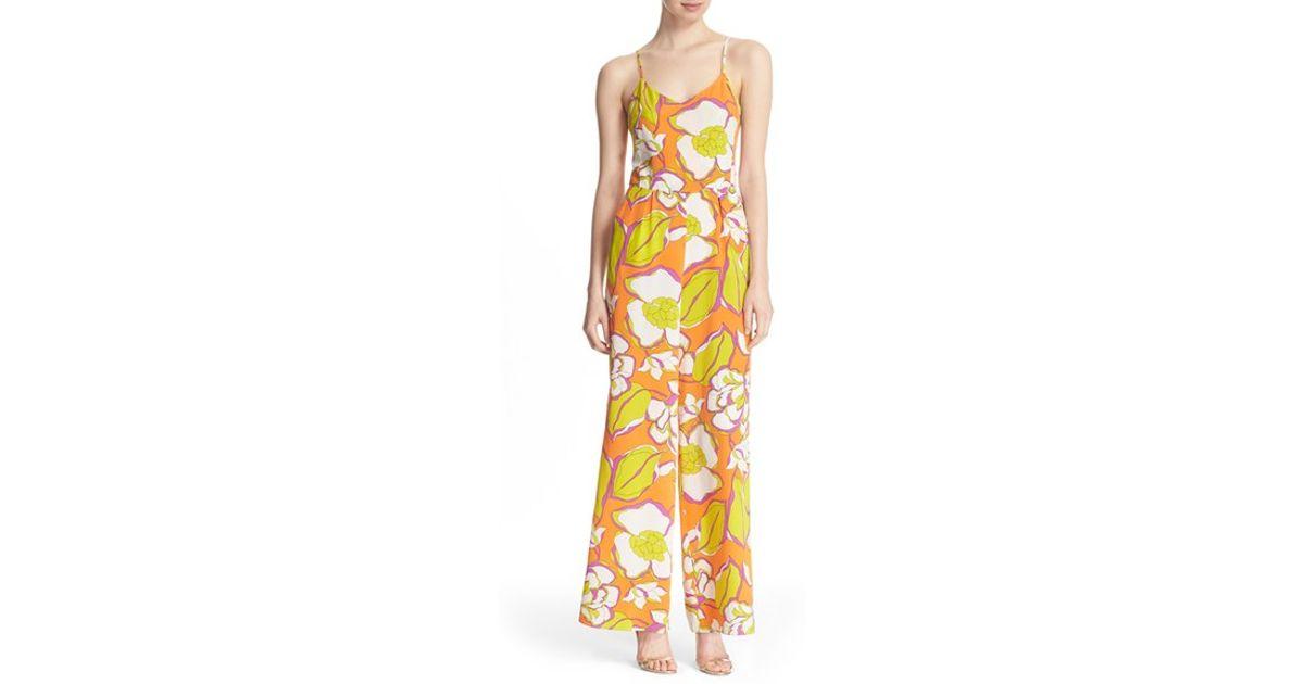 7b3512861e29 Lyst - Trina Turk  zadie  Floral Print Silk Jumpsuit in Orange
