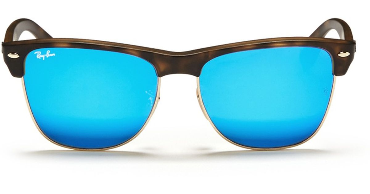 7cfd43ddfd Lyst - Ray-Ban  clubmaster Oversized  Matte Plastic Browline Mirror  Sunglasses in Blue