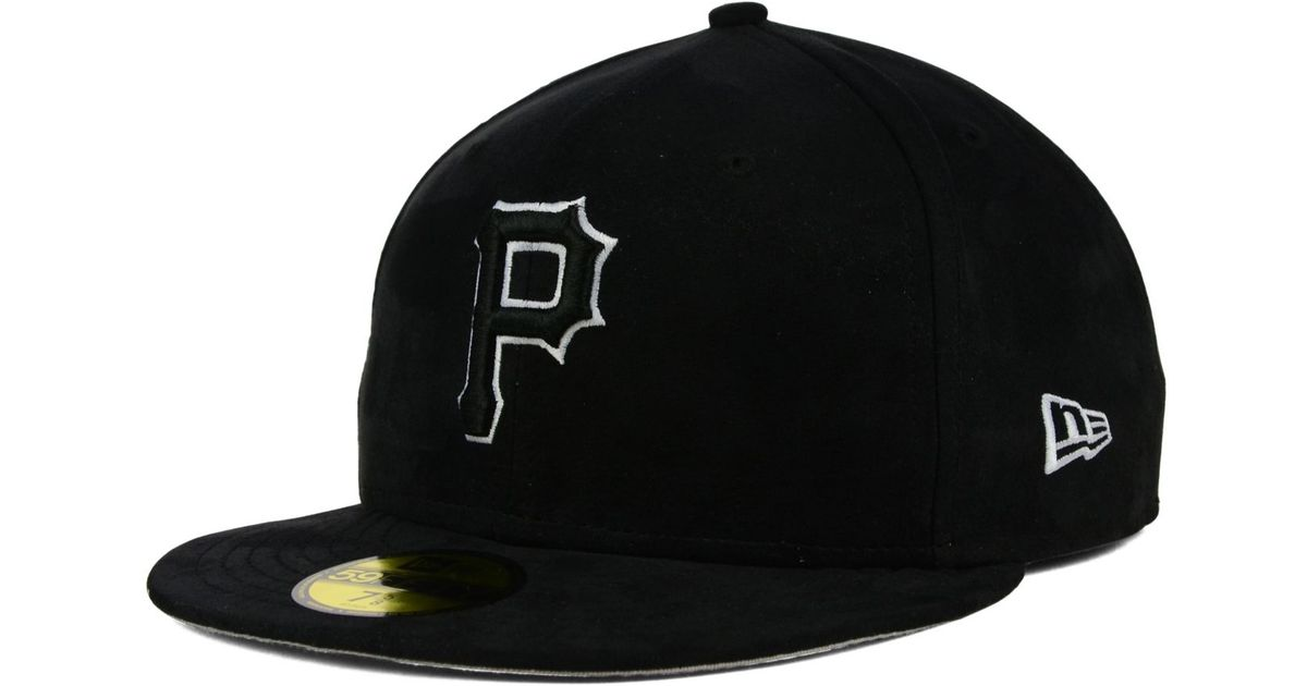premium selection b71d4 ee9d0 ... italy lyst ktz pittsburgh pirates faux suede out 59fifty cap in black  for men 8b16f 39fc7