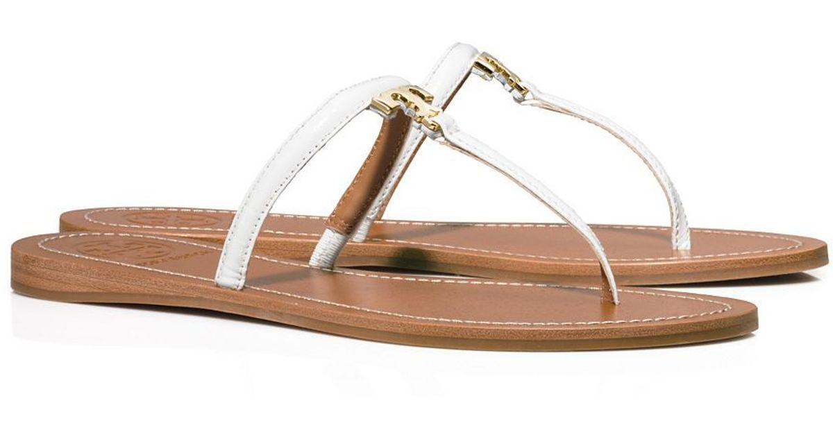 07c75e32943367 Tory Burch T Logo Flat Thong Sandal in White - Lyst