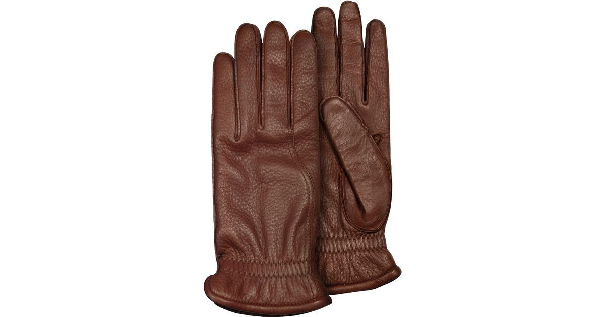 c46da1427ed0 Lyst - Pineider Men s Brown Deerskin Leather Gloves W  Cashmere Lining in  Brown for Men