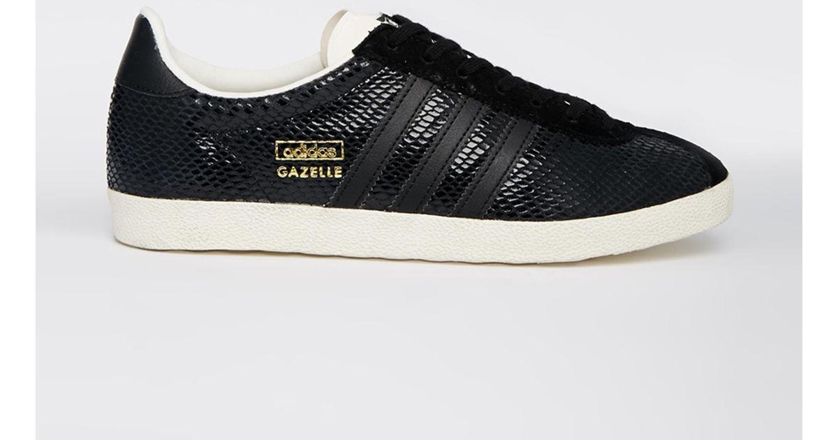 buy popular cf3c0 214ee adidas Gazelle Og Black Leather Sneakers in Black - Lyst