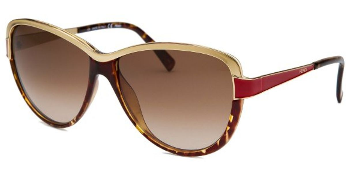 womens red sunglasses  Fendi Womens Cat Eye Havana Goldtone and Red Sunglasses in ...