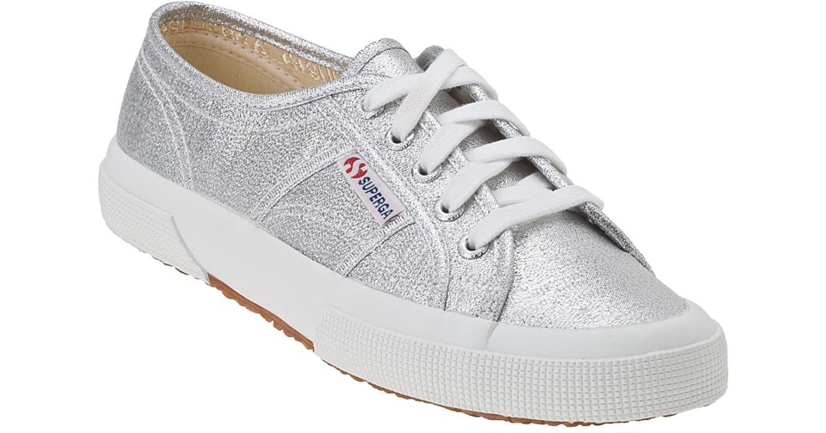 superga 2750 sneaker silver canvas in metallic lyst. Black Bedroom Furniture Sets. Home Design Ideas