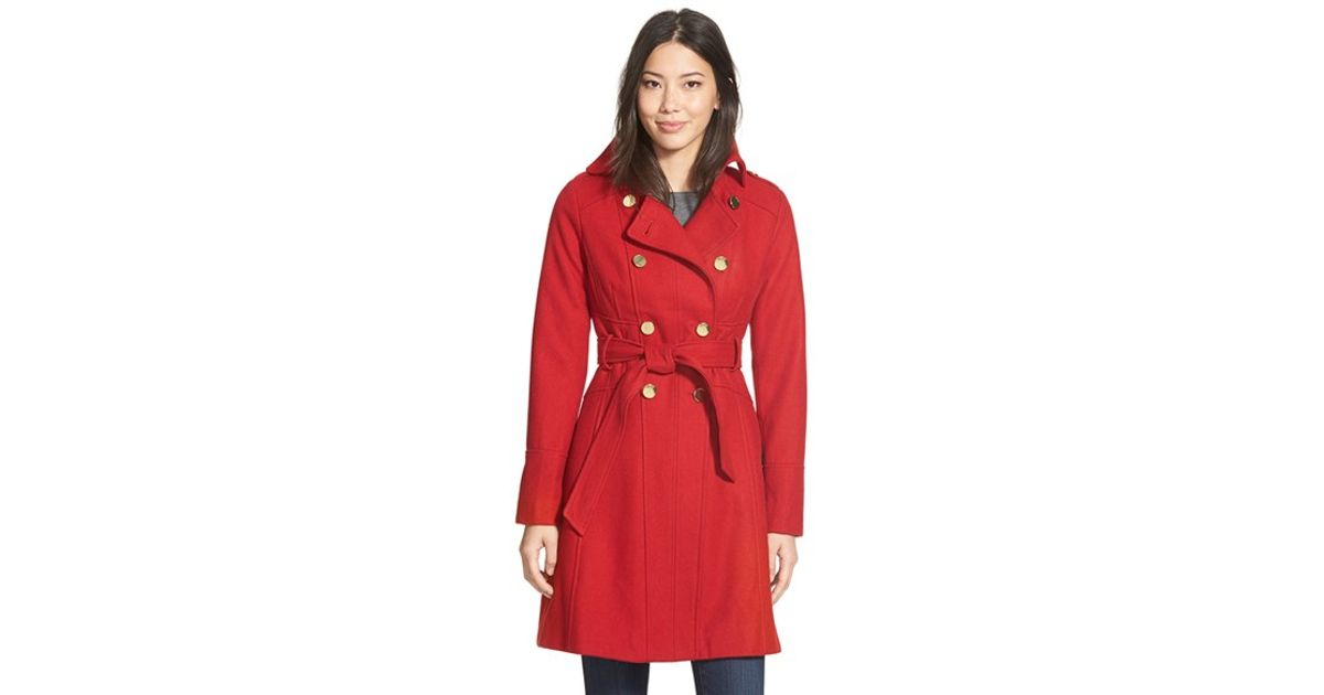 Guess Wool Blend Trench Coat In Red Save 35 Lyst