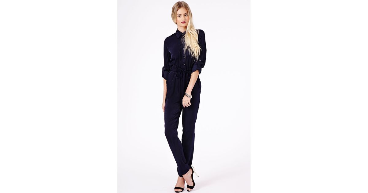 d7b54fb277e Missguided Aleida Silk Feel Shirt Jumpsuit in Navy in Blue - Lyst